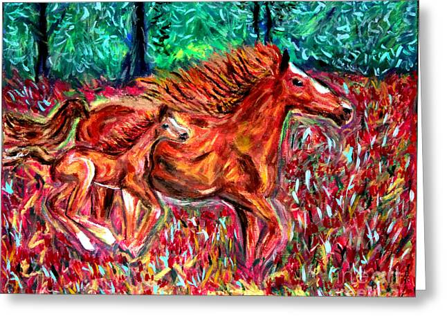 Wild Horses Greeting Card by Debbie Davidsohn