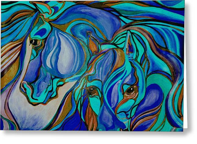 Wild  Horses In Brown And Teal Greeting Card