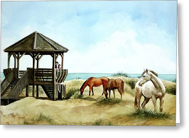 Sand Dunes Paintings Greeting Cards - Wild Horses of the Outer Banks Greeting Card by Virginia Sonntag