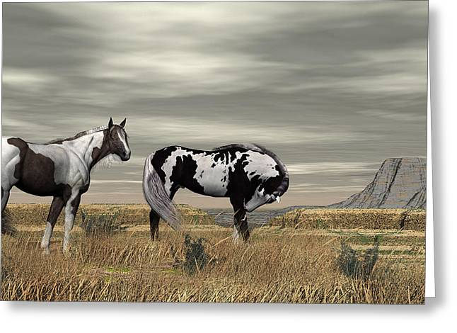 Wild Horses Greeting Card by Walter Colvin