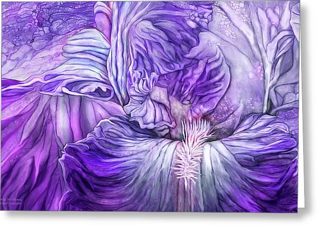 Greeting Card featuring the mixed media Wild Iris Purple by Carol Cavalaris