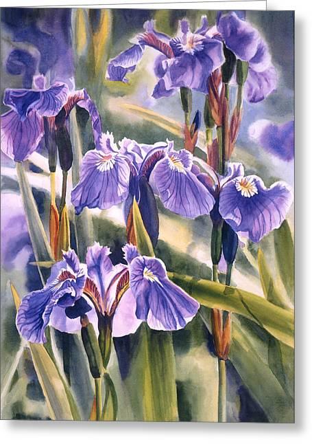 Watercolour Paintings Greeting Cards - Wild Irises #1 Greeting Card by Sharon Freeman