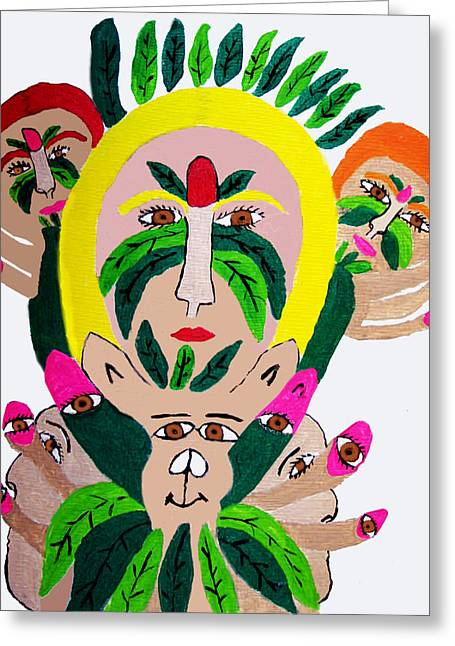 Wild Look Of The Green Plant Lady Greeting Card by Betty  Roberts