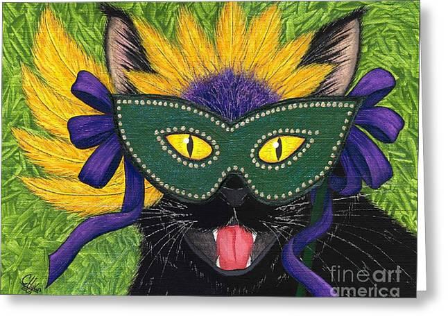 Wild Mardi Gras Cat Greeting Card