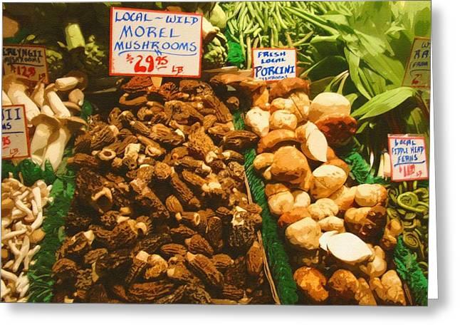 Wild Morell Mushrooms Greeting Card by Lydia L Kramer