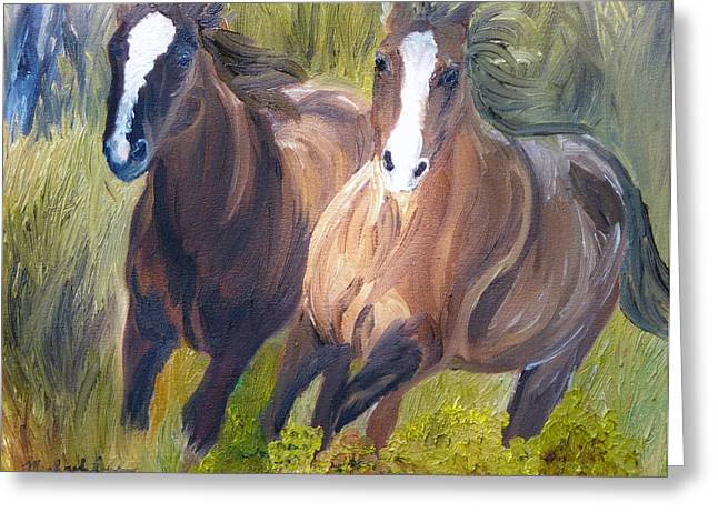 Wild Mustangs Greeting Card by Michael Lee