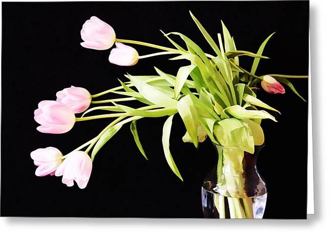 Wild Pink Tulips Greeting Card