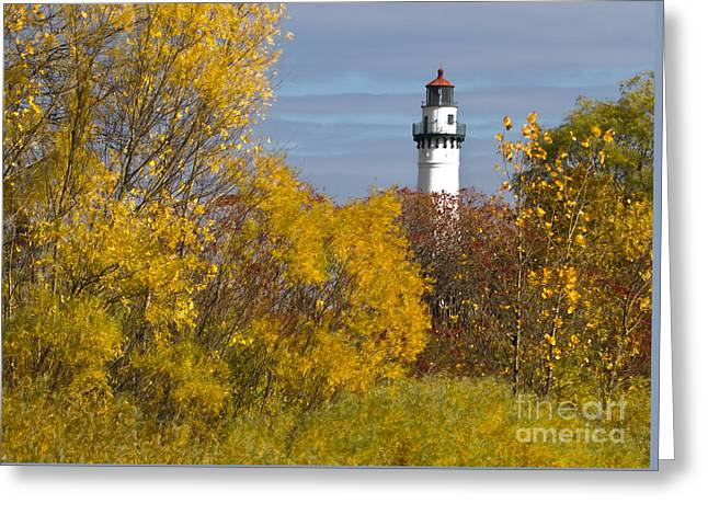 Wind Point Lighthouse In Fall Greeting Card