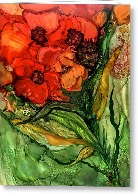 Wild Poppies - Organica Greeting Card by Carol Cavalaris