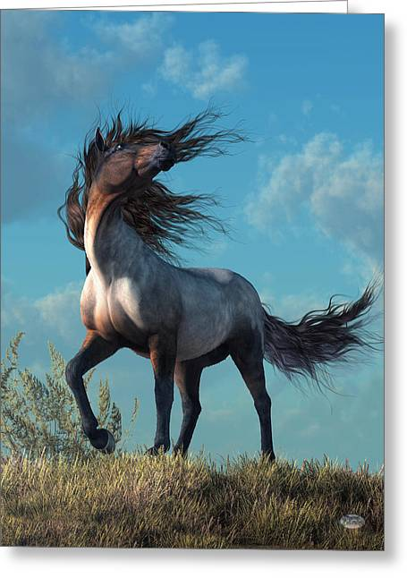 Greeting Card featuring the digital art Wild Roan by Daniel Eskridge