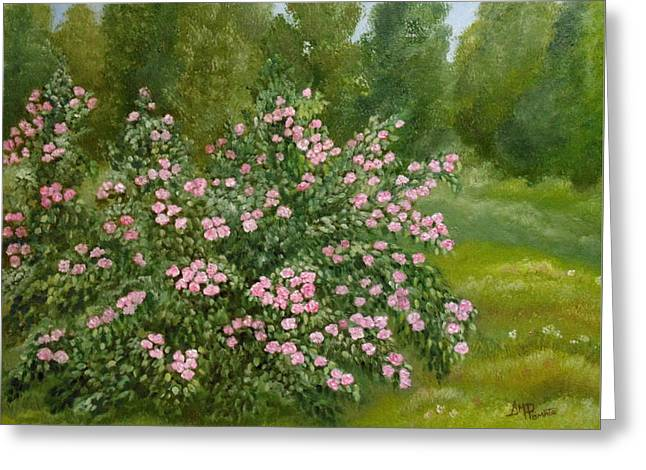 Greeting Card featuring the painting Wild Roses by Angeles M Pomata