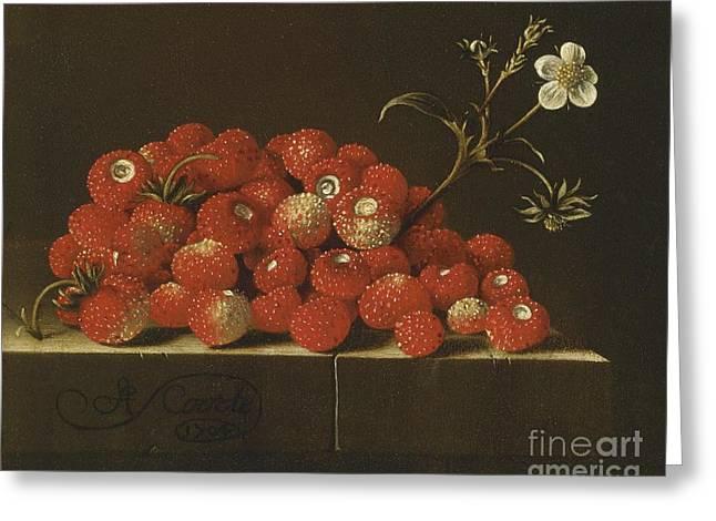 Wild Strawberries On A Ledge Greeting Card