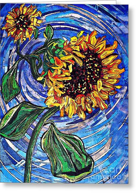 Wild Sunflowers Greeting Card by Sarah Loft