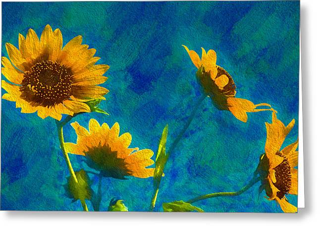 Wild Sunflowers Singing Greeting Card