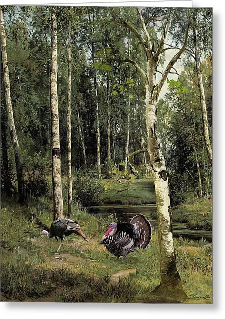 Wild Turkeys In Birch Tree Forest Greeting Card