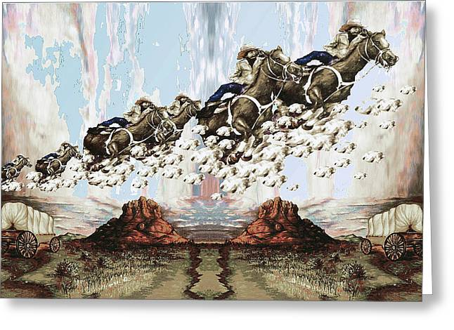 Wild West Sky Riders - Western Art Greeting Card by Art America Gallery Peter Potter