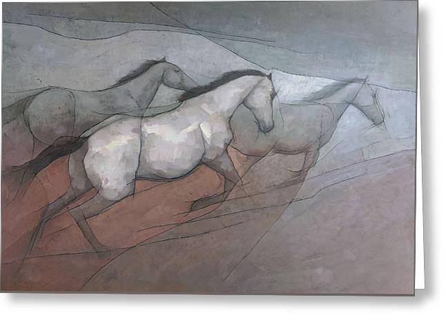 Greeting Card featuring the painting Wild White Horses by Steve Mitchell