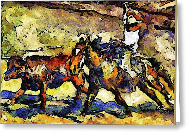 Wild Wild West Van Gogh Style Expressionism Greeting Card by Georgiana Romanovna