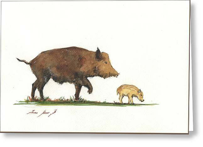 Wildboar Piglet Greeting Card