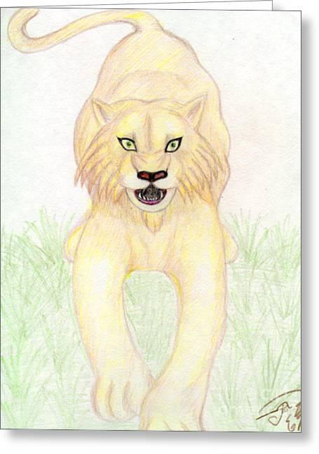 Wildcats Drawings Greeting Cards - Wildcat Greeting Card by Cassandra Geernaert