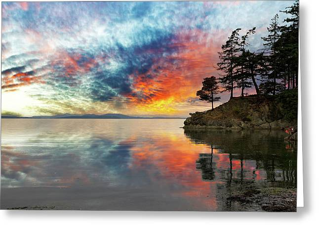 Wildcat Cove In Washington State At Sunset Greeting Card by David Gn