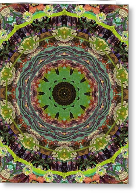 Wilder Flower Mandala Greeting Card by Sandra Gallegos