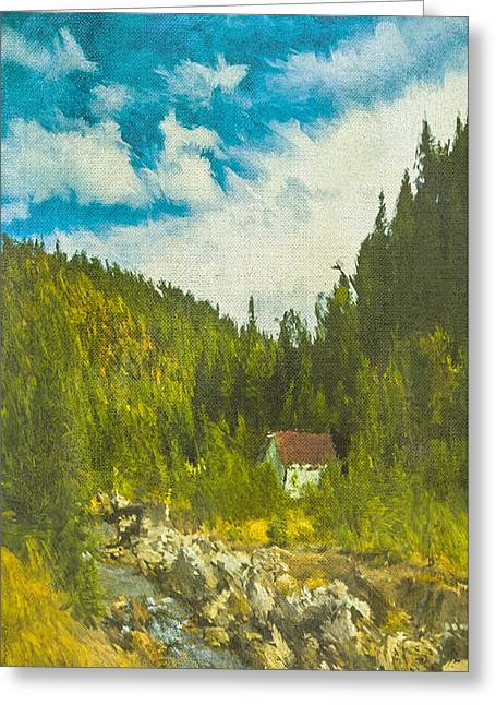 Greeting Card featuring the digital art Wilderness Cabin by Dale Stillman