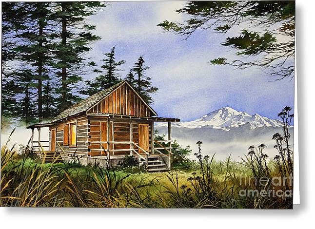 Wilderness Cabin Greeting Card by James Williamson