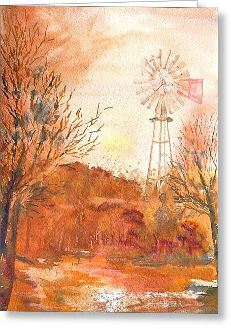 Greeting Card featuring the painting Wilderness Windmill by Sharon Mick