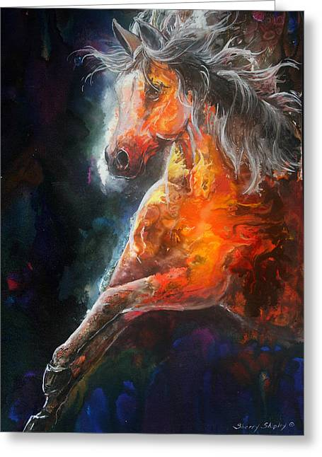 Greeting Card featuring the painting Wildfire Fire Horse by Sherry Shipley