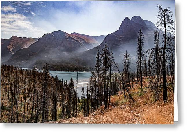 Greeting Card featuring the photograph Wildfire Remnants Overlooking St. Mary's Lake, Glacier National Park by Lon Dittrick