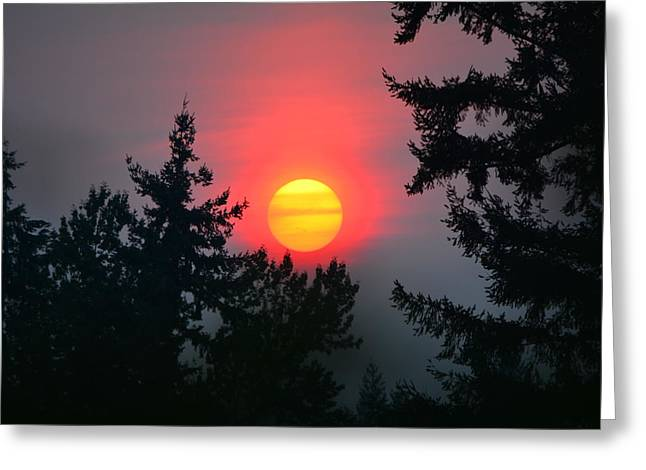 Wildfire Sunset Greeting Card