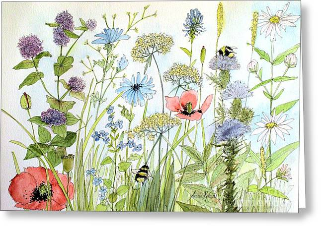 Wildflower And Bees Greeting Card