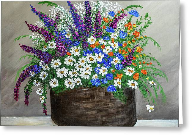 Greeting Card featuring the painting  Wildflower Basket Acrylic Painting A61318 by Mas Art Studio