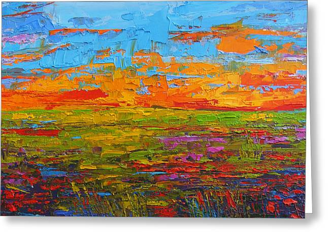 Wildflower Field At Sunset - Modern Impressionist Oil Palette Knife Painting Greeting Card by Patricia Awapara