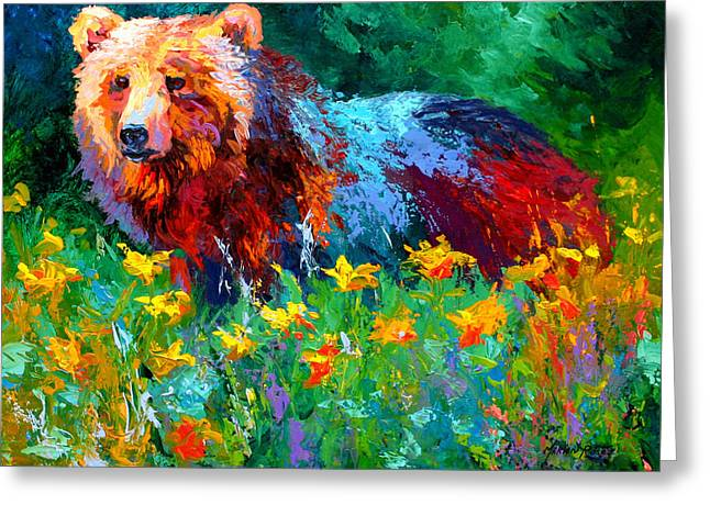 Wildflower Grizz II Greeting Card by Marion Rose