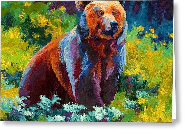 Denali Greeting Cards - Wildflower Grizz Greeting Card by Marion Rose