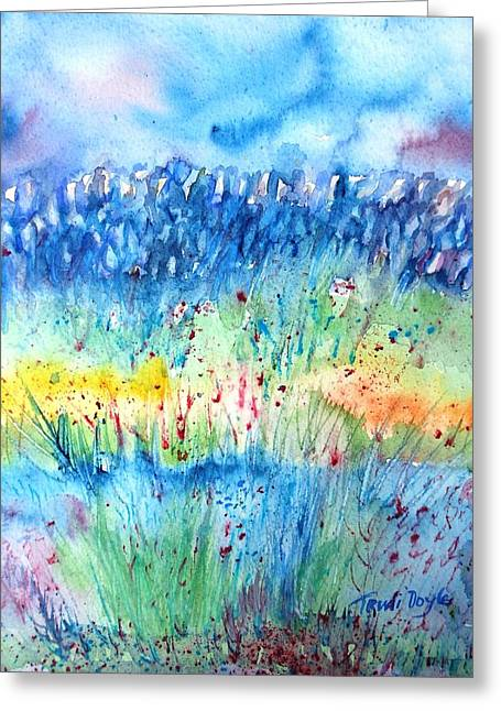 Wildflower Meadow And Stone Wall Inisheer  Greeting Card by Trudi Doyle