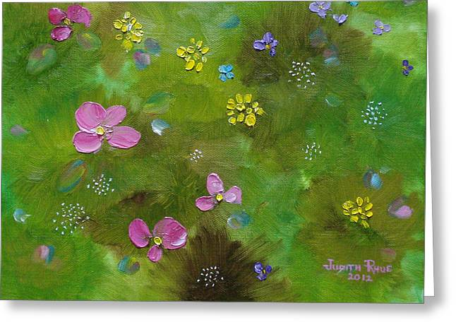 Greeting Card featuring the painting Wildflower Support by Judith Rhue