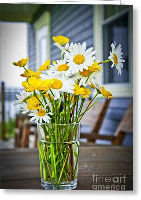 Bouquet Greeting Cards - Wildflowers bouquet at cottage Greeting Card by Elena Elisseeva