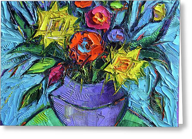 Wildflowers Bouquet On Green Table - Impasto Palette Knife Oil Painting - Mona Edulesco Greeting Card