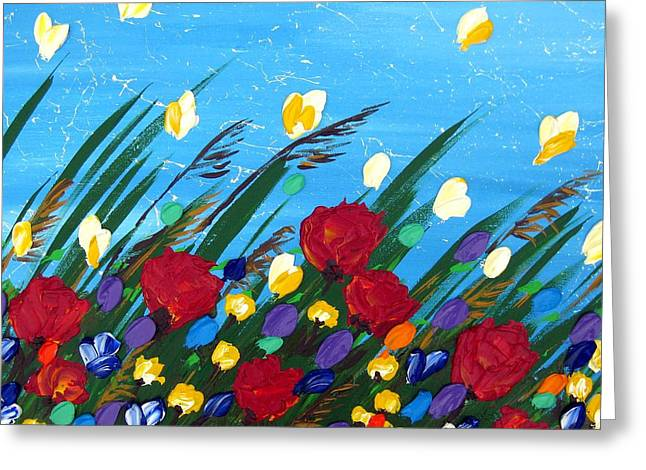 Wildflowers Dancing Greeting Card by Cathy Jacobs