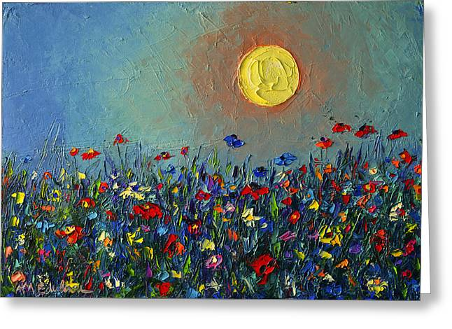 Wildflowers Meadow Sunrise Modern Floral Original Palette Knife Oil Painting By Ana Maria Edulescu Greeting Card