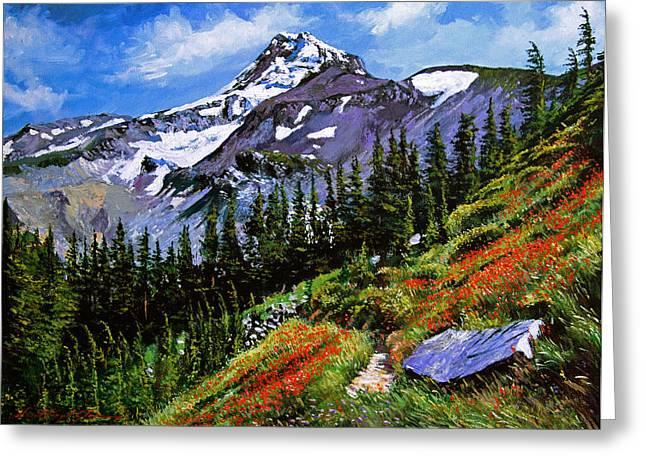 Wildflowers Mount Hood Greeting Card by David Lloyd Glover