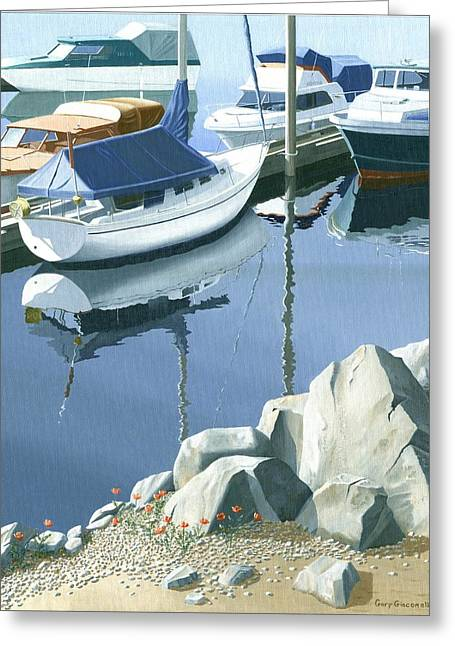Greeting Card featuring the painting Wildflowers On The Breakwater by Gary Giacomelli