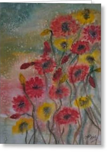 Wildflowers Still Life Modern Print Greeting Card by Derek Mccrea