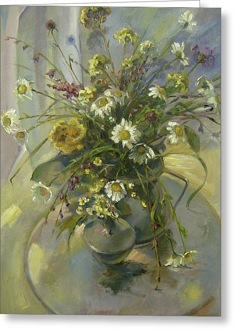 Greeting Card featuring the painting Wildflowers by Tigran Ghulyan