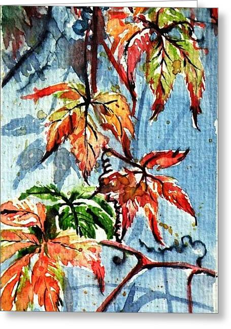 Greeting Card featuring the painting Wildgrape by Kovacs Anna Brigitta
