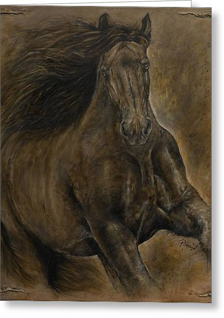 Wildheart....sang To Me Greeting Card by Paula Collewijn -  The Art of Horses