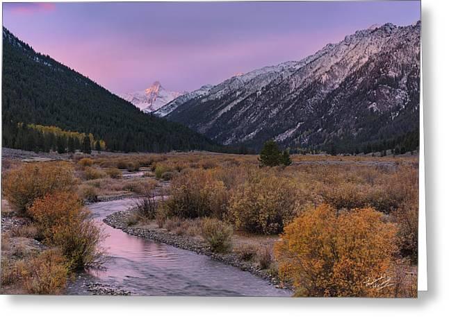 Wildhorse Creek Autumn Sunrise Greeting Card by Leland D Howard